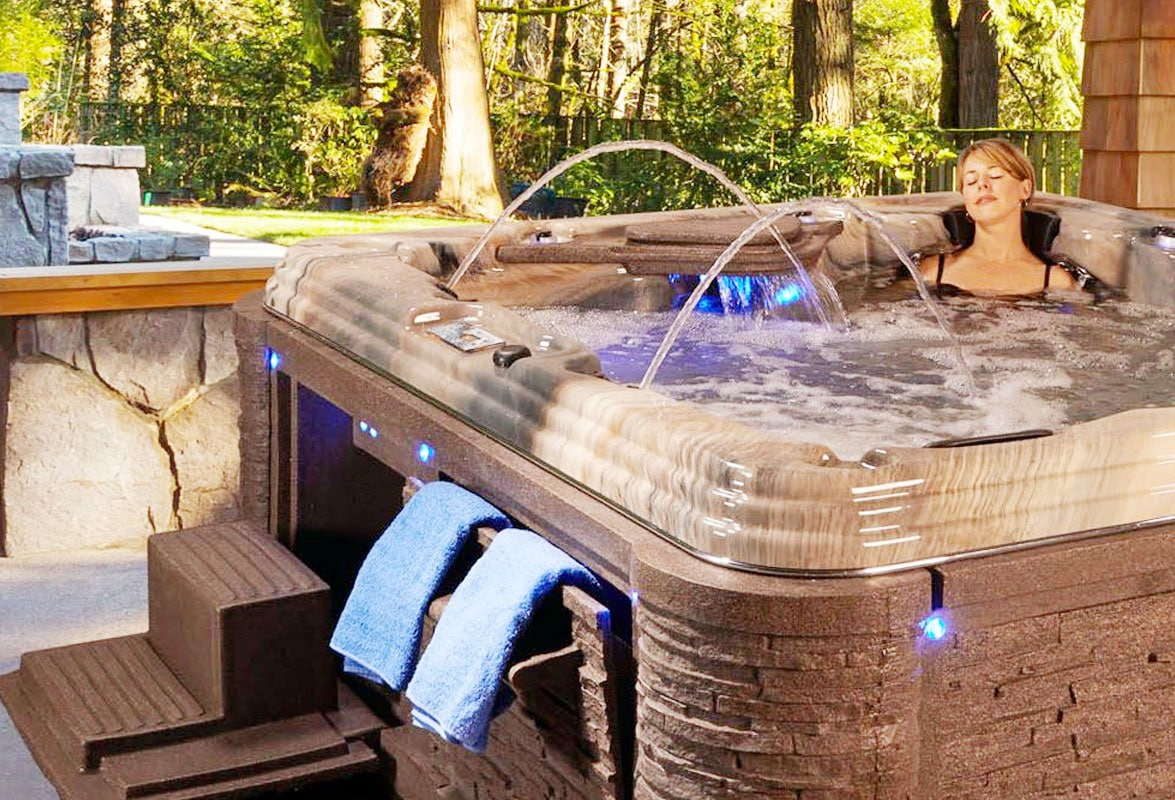 Woman Enjoying Her Luxury Hot Tub