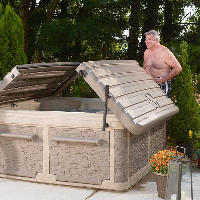 Man Opening His Diamond Luxury 36 Tub