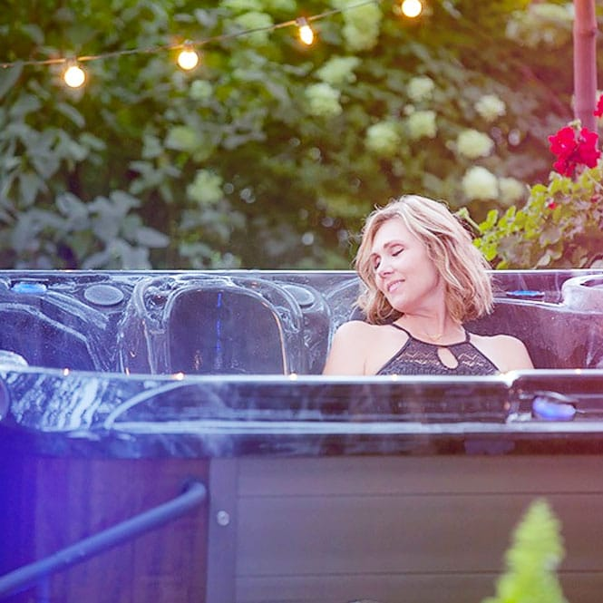 Woman Relaxing In Her S40 Hot Tub