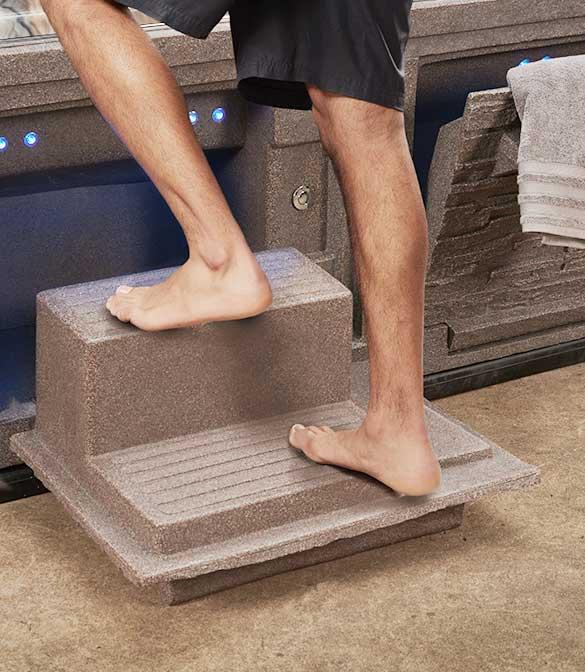 Man Using Hot Tub Steps